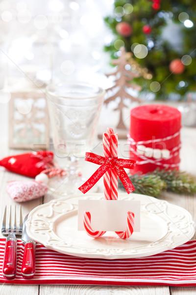 Christmas place setting. Stock photo © lidante