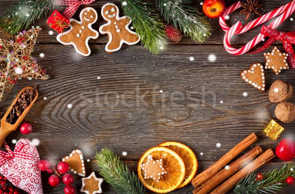 Tatlı Noel çerçeve zencefilli çörek kurabiye baharatlar Stok fotoğraf © lidante