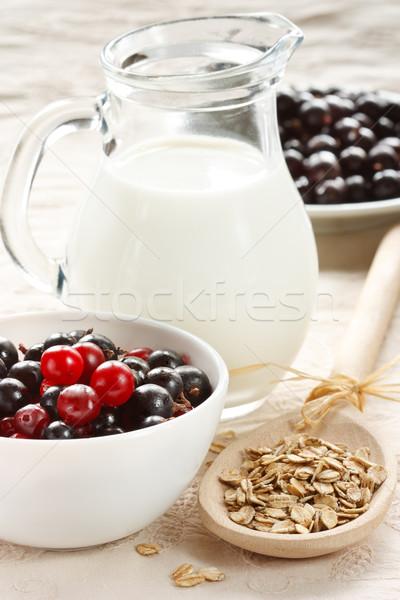 Gezonde ontbijt melk bessen haver Stockfoto © lidante