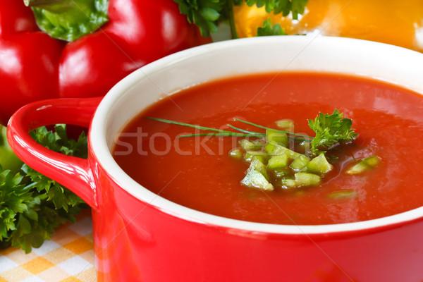 Sopa de tomate saboroso verde páprica ervas comida Foto stock © lidante