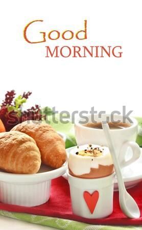 Pequeno-almoço continental croissants café ovo fruto café da manhã Foto stock © lidante