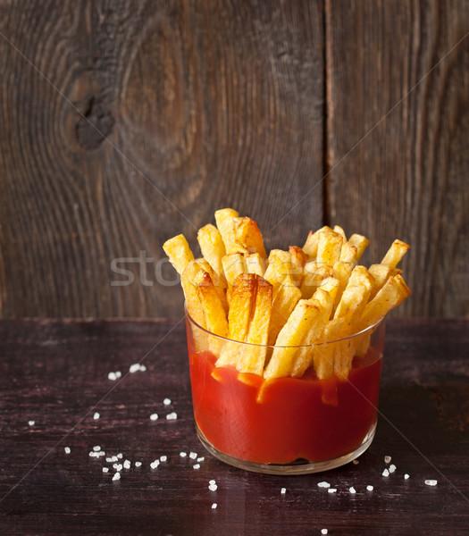 Foto stock: Frito · patatas · salsa · de · tomate · servido · vidrio · alimentos