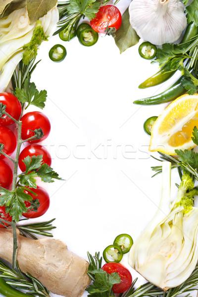 Zöldségek keret gyönyörű friss zöldség egészséges étel étel Stock fotó © lidante