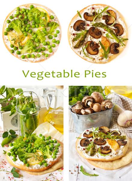 Foto stock: Tortas · delicioso · vegetal · verde · ervilhas · cogumelo