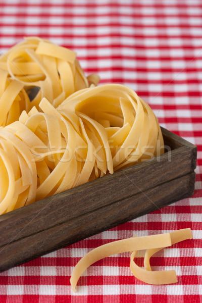 Tagliatelle ruw houten vak weefsel pasta Stockfoto © lidante