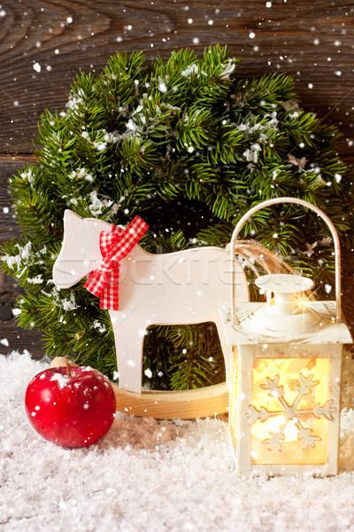 Noël décoration bougie lanterne cheval à bascule pomme rouge Photo stock © lidante