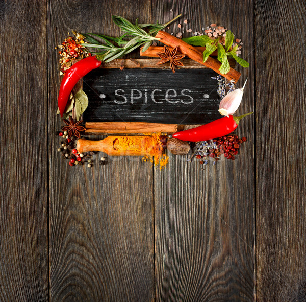 Colorful spices and herbs.. Stock photo © lidante