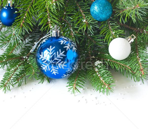Weihnachten blau Dekoration Schnee Design Glas Stock foto © lidante