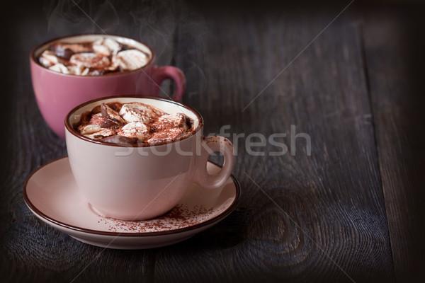 Warme chocolademelk heerlijk heemst houten voedsel hout Stockfoto © lidante