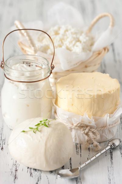 Frescos alimentos queso cuchara Foto stock © lidante
