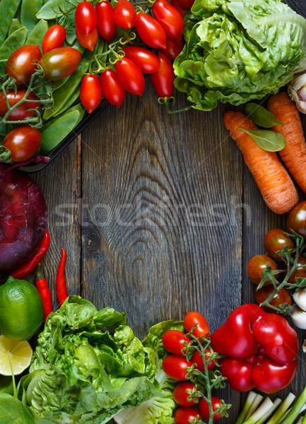 Foto stock: Quadro · legumes · frescos · fresco · maduro · colorido · legumes