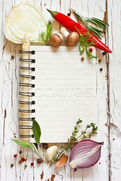 Cocinar libro abierto receta hortalizas hierbas Foto stock © lidante