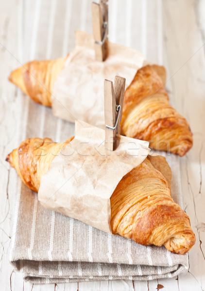 Vers croissants papier oude brood Stockfoto © lidante