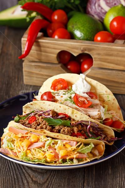 мексиканских уличной еды свежие Тако продовольствие Ингредиенты Сток-фото © lidante