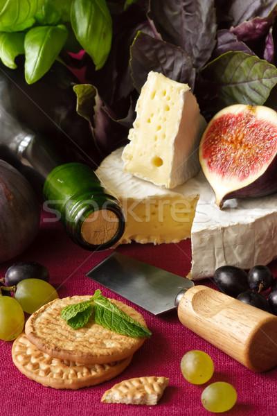 Sajt borosüveg bor camembert füge étel Stock fotó © lidante