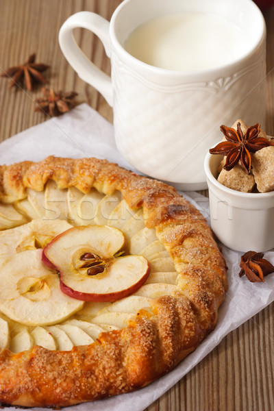 Apple pie and milk. Stock photo © lidante