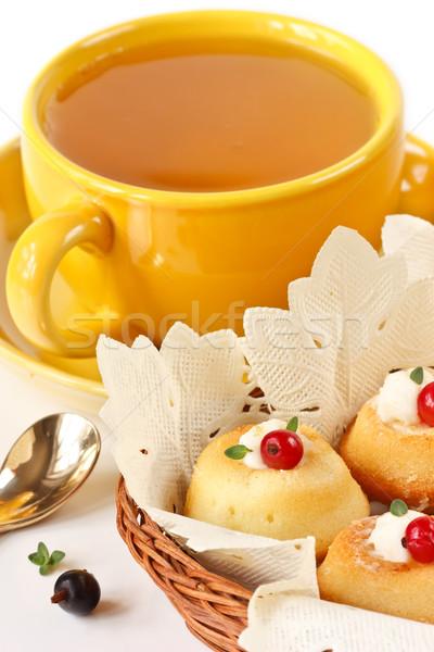 Karpuzu fincan yeşil çay kâğıt kek Stok fotoğraf © lidante