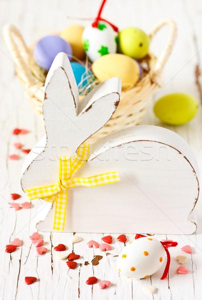 Stock fotó: Húsvét · díszítések · fehér · fából · készült · nyuszi · színes