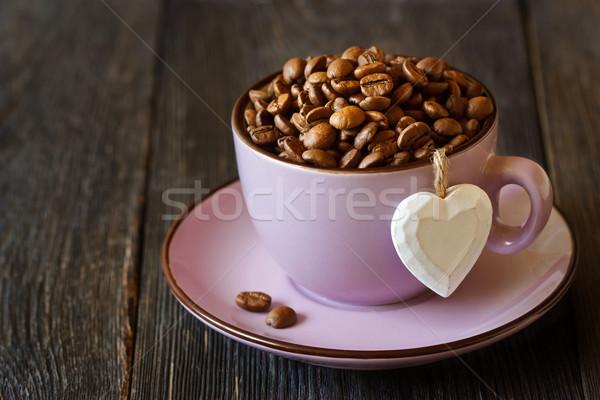Caffè chicchi di caffè Cup legno natura Foto d'archivio © lidante