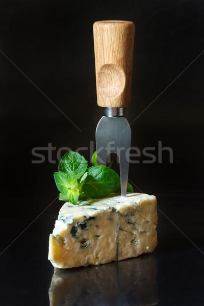 Rokfor parça çatal nane siyah gıda Stok fotoğraf © lidante