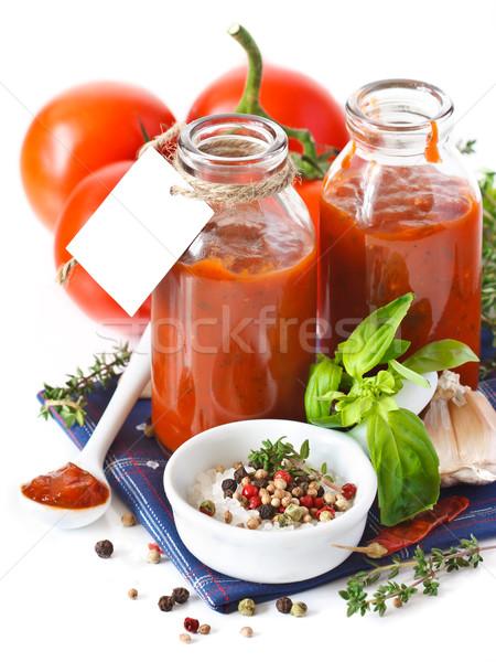 Molho de tomate tradicional caseiro vazio verde Foto stock © lidante