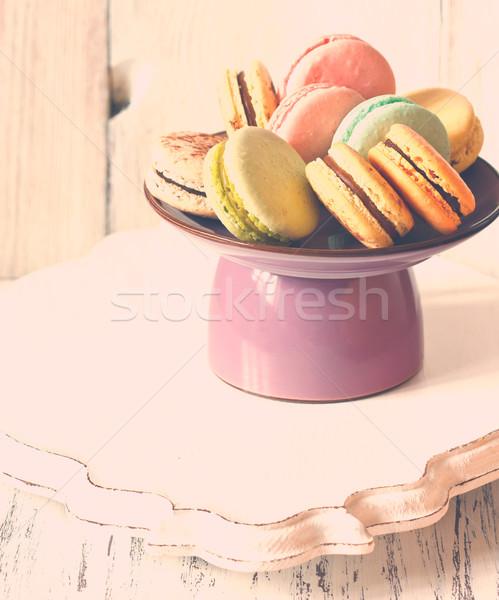 Macarons taze tatlı kek durmak sevmek Stok fotoğraf © lidante