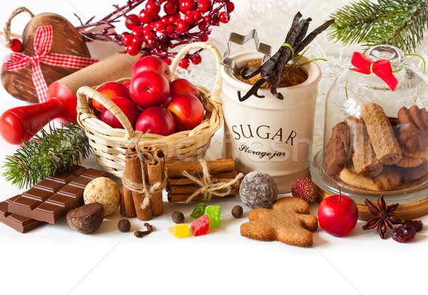 Christmas ingrediënten boom appel geschenk Stockfoto © lidante