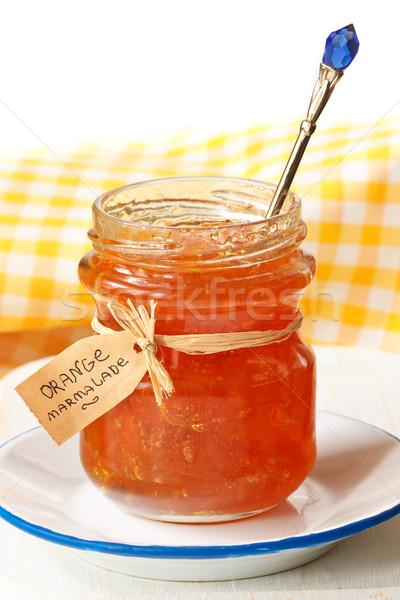 Narancs házi készítésű gyümölcs üveg nyár citrom Stock fotó © lidante