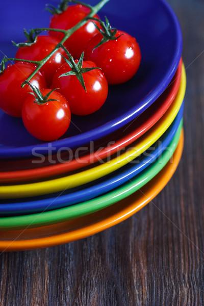 Stock fotó: Konyha · friss · koktélparadicsom · boglya · színes · tányérok