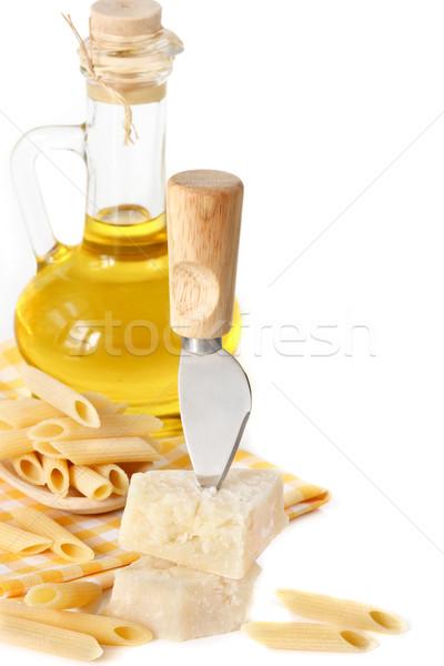 Parmesão faca macarrão azeite amarelo guardanapo Foto stock © lidante