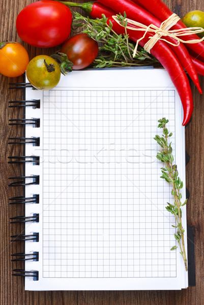 Vegetales cuaderno edad papel alimentos Foto stock © lidante