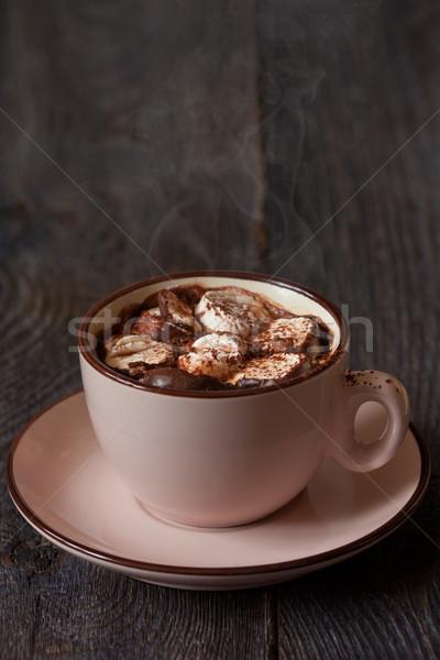 Chocolate quente delicioso marshmallow comida madeira Foto stock © lidante