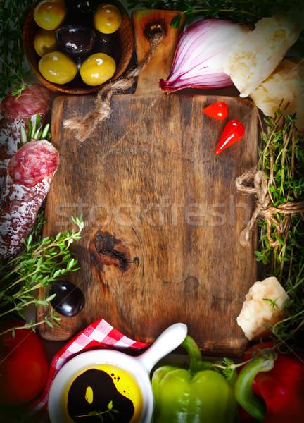 のイタリア料理 古い まな板 生鮮食品 材料 写真 ストックフォト © lidante