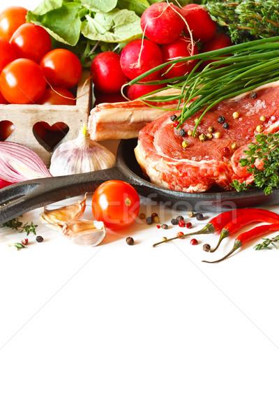 Bioélelmiszer friss nyers hús serpenyő fűszer Stock fotó © lidante