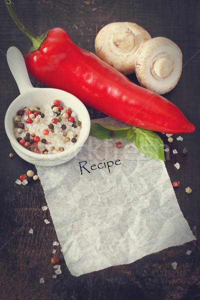 Recept verse groenten specerijen papier nota gezondheid Stockfoto © lidante