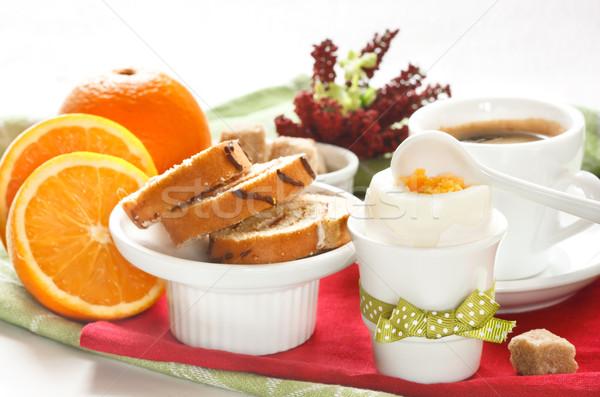 Colazione continentale rotolare caffè uovo alimentare colazione Foto d'archivio © lidante