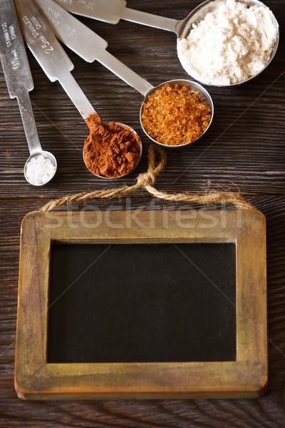Сток-фото: Ингредиенты · мучной · коричневого · сахара · мелом