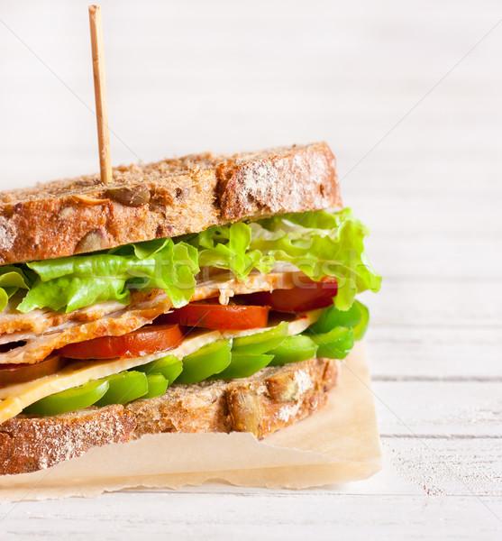 サンドイッチ 新鮮な トルコ チーズ 野菜 背景 ストックフォト © lidante