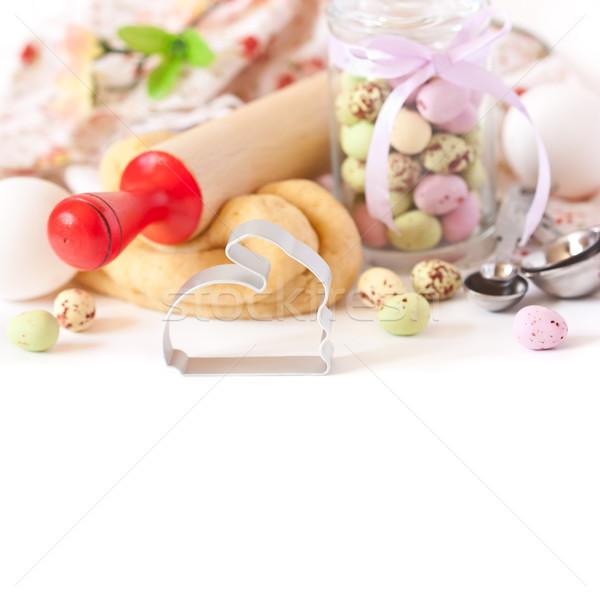 Húsvét idő nyuszi süti csokoládé húsvéti tojások Stock fotó © lidante