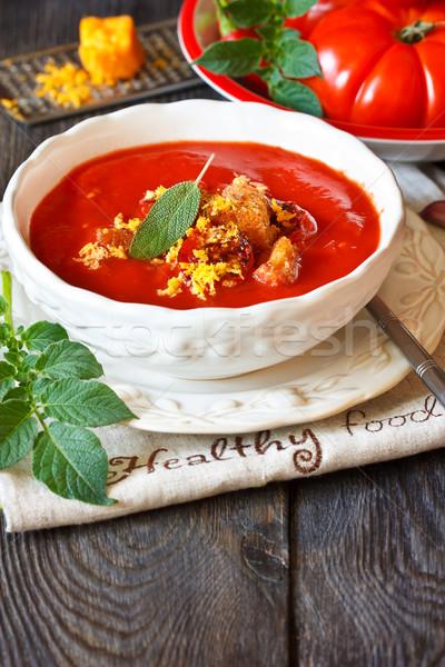 Zupa pomidorowa ser czosnku żywności Zdjęcia stock © lidante