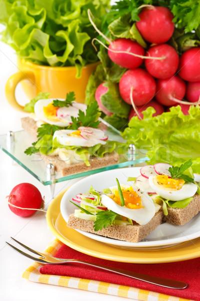 Colazione fresche toast panini uovo ravanello Foto d'archivio © lidante