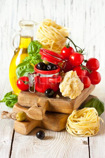Cucina italiana tradizionale fresche pasta pomodori formaggio Foto d'archivio © lidante