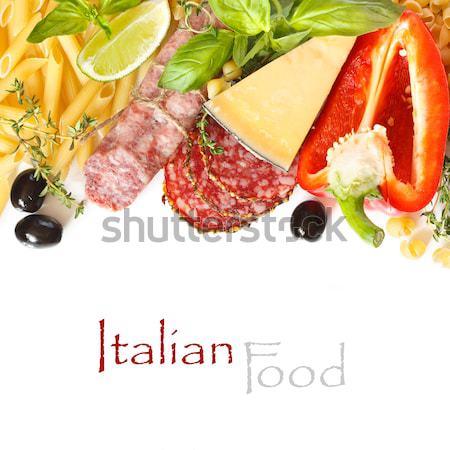 Comida italiana ingredientes cocina blanco verde queso Foto stock © lidante