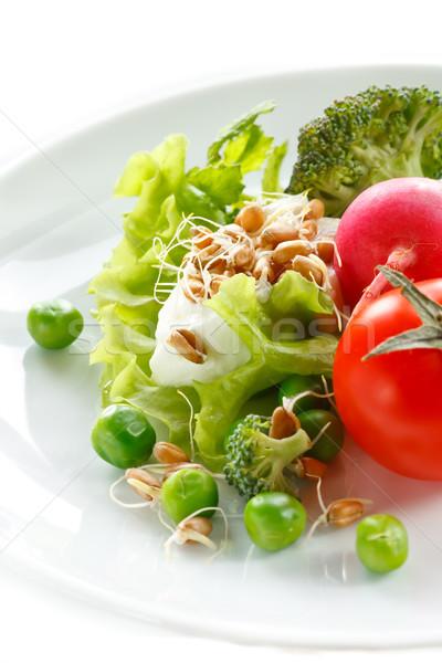 Alimentação saudável fresco verde salada iogurte dieta Foto stock © lidante