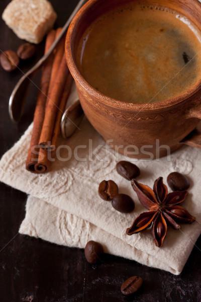 Foto d'archivio: Caffè · spezie · zucchero · di · canna · vecchio · legno · sfondo