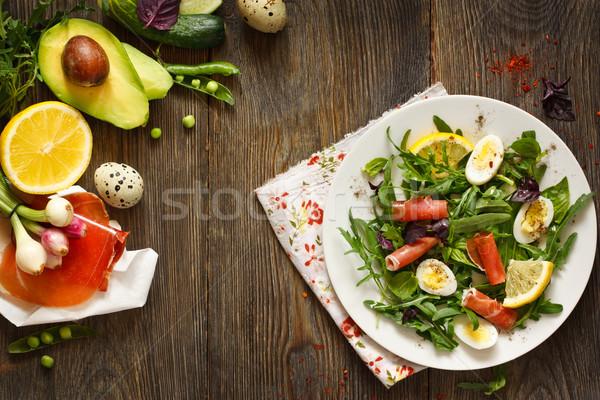 新鮮な ハム サラダ 卵 食品 ストックフォト © lidante
