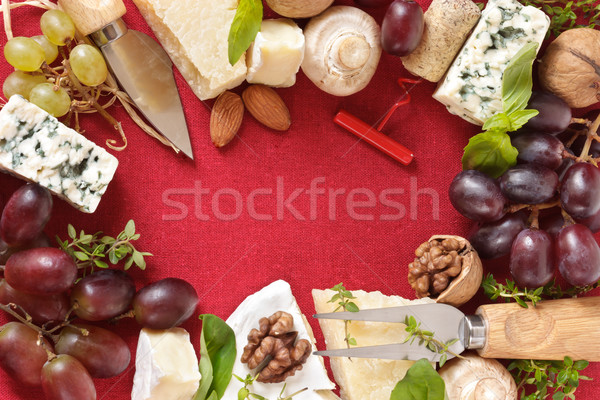 Cheese, nuts and wine. Stock photo © lidante