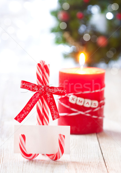 ストックフォト: クリスマス · 場所 · 空っぽ · 名前 · カード · キャンディ