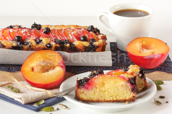 Fruitcake and cup of coffee. Stock photo © lidante