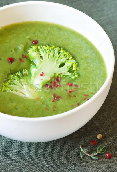Stok fotoğraf: Brokoli · çorba · lezzetli · baharatlar · beyaz · çanak